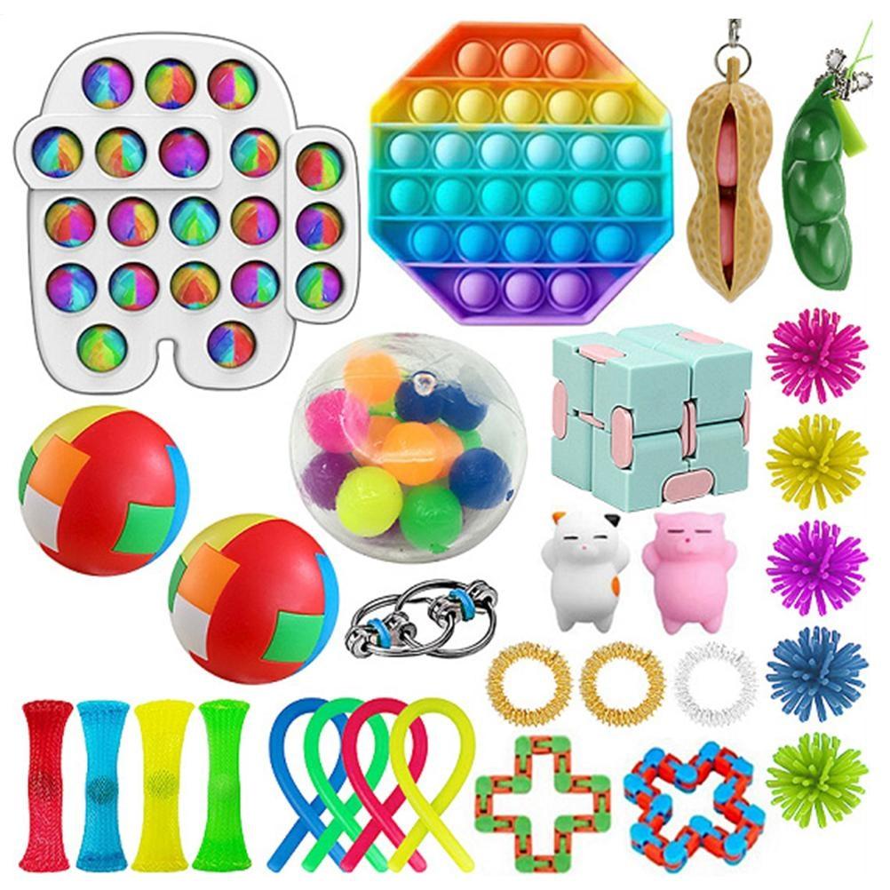 Sensory Fidget Toys Set Adult Kids Funny Antistress Toys Push Bubble Fidget Sensory Toy Autism Special Needs Stress Reliever Toy недорого