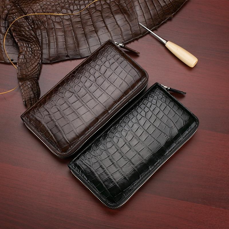 Couro de Crocodilo Carteira dos Homens de Alta Novo Clássico Qualidade Luxo Negócios Couro Genuíno Longo Zíper Bolsa Embreagem Masculino Preto