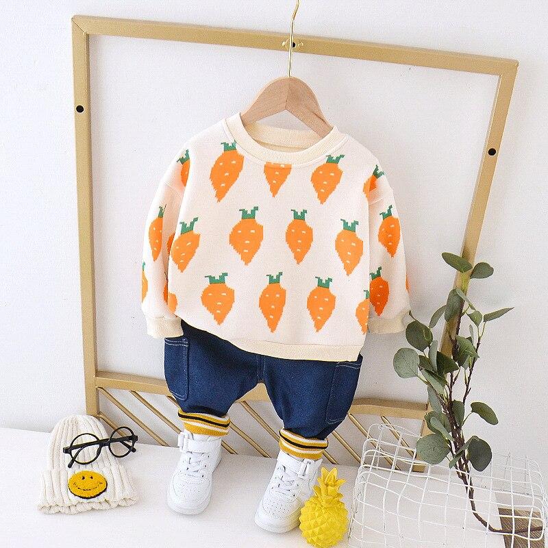 Осенне-зимняя одежда для маленьких мальчиков, плотный костюм, 2 предмета, детская одежда, модная повседневная спортивная одежда с принтом дл...