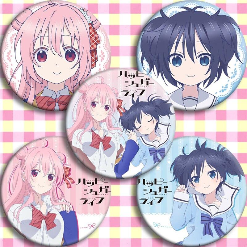 Japón Anime feliz azúcar vida Matsuzaka Satou Cosplay fiesta dibujos animados colección bolsa insignia para mochila botón broche coleccionable