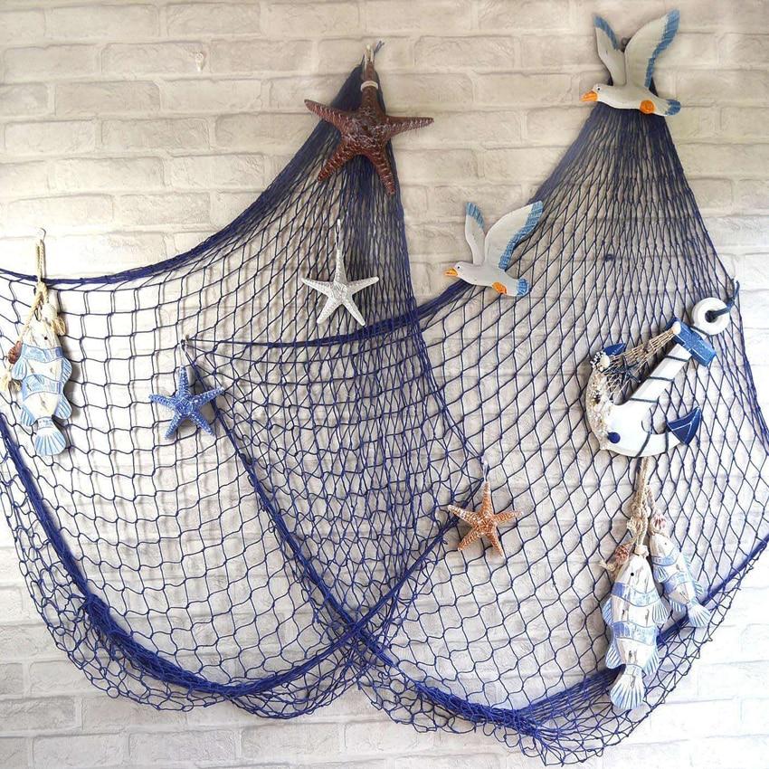 Fishing Net Decor Ocean Beach Theme Party Decorations Mediterranean Decor  Fishing Net Cotton Thread Bar Fish Nets Decor Beach