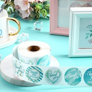 500Pcs/Roll 2.5/3.8cm Green Bronzing Thank You for Your Order Label Sticker Tags Sticker Stationery Supply Envelope Sealing Labe