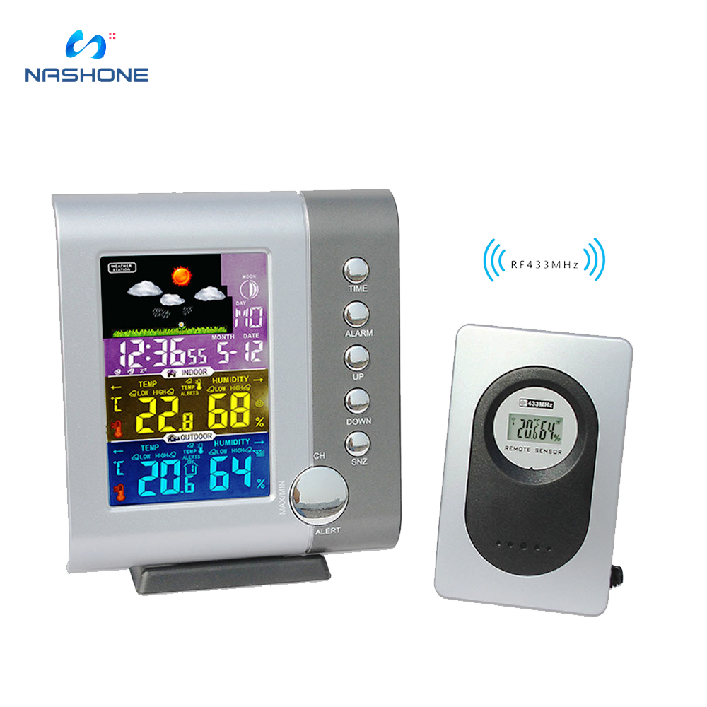 combo bluetooth wireless magnetic monitor smart sensor data logger temperature humidity controller thermostat weather station Wireless Weather Station Indoor Outdoor Thermometer Hygrometer With Sensor LCD Color Screen Digital Temperature Humidity Monitor
