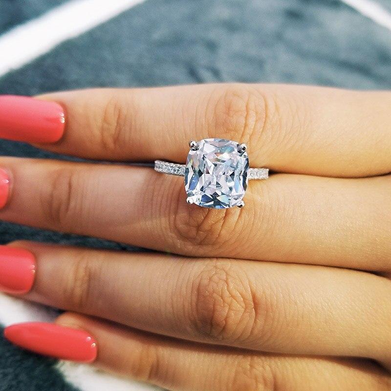 Lujosos anillos de diamante tallados en plata de ley 925 de 4CT, anillos de compromiso de boda con Topacio blanco para mujer, joyería de regalo