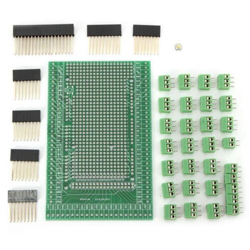 Double-Side PCB Prototype Screw Terminal Block Shield Board Kit for MEGA-2560 Expansion Board