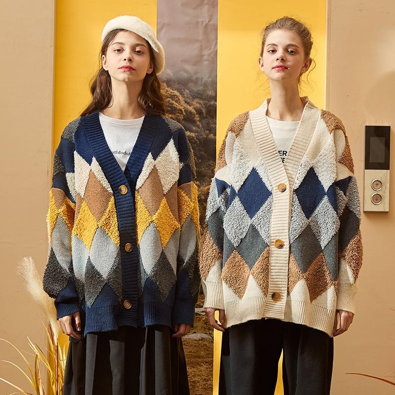 2020 Otoño e Invierno todo-fósforo nuevo cardigan chaqueta suéter de punto de las mujeres suéter suelto exterior chaqueta con cuello en V engrosamiento