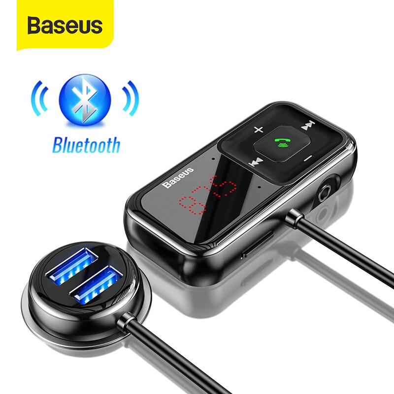 Baseus سيارة FM المغير بلوتوث محول FM الارسال 3.1A USB شاحن سيارة بلوتوث 5.0 Aux اللاسلكية الصوت مشغل MP3