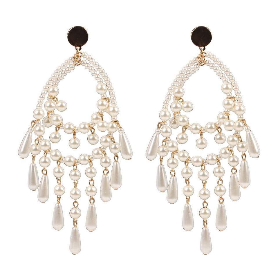 5P الذهب معدن لؤلؤ مصنوع باليد كبيرة للنساء استرخى إسقاط أقراط موضة بيان حفلة مجوهرات طويلة بالجملة