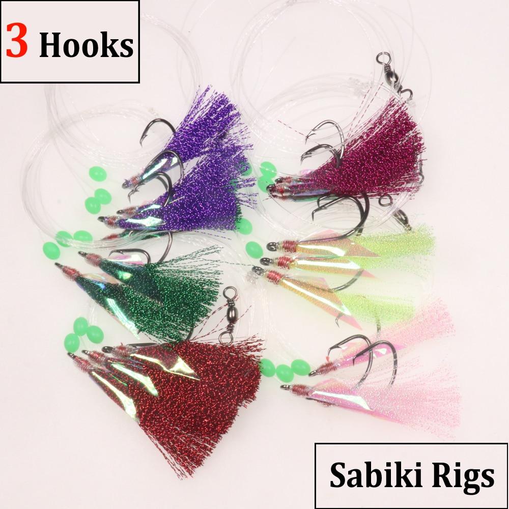 6 sacs 3 crochets 4/0 6/0 crochets forts gros Flasher plate-forme poisson peau Sabiki vivaneau arracheur morue pêche appâts leurres rouge jaune Bule