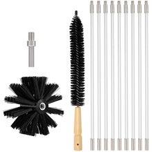 Kit de nettoyage de conduit sèche-linge 12 pieds, Flexible 9 tiges Kit de nettoyage de conduit sec brosse de cheminée avec brosse de charpie sèche-linge