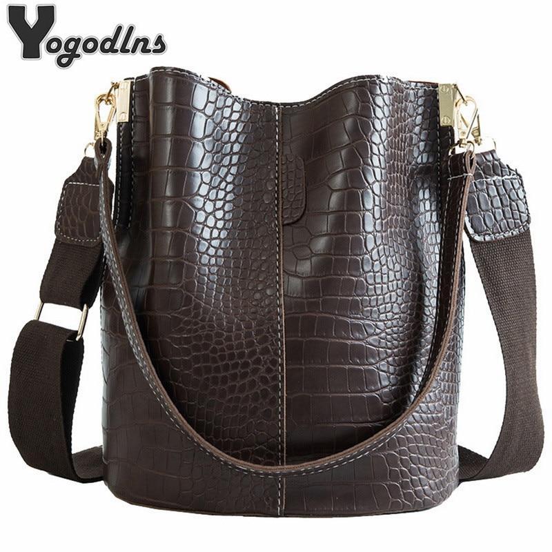 Vintage Casual Bucket Bags for Women Shoulder Bag Alligator pattern Quality Pu Leather Messenger Bag Big Tote Popular Style 2020