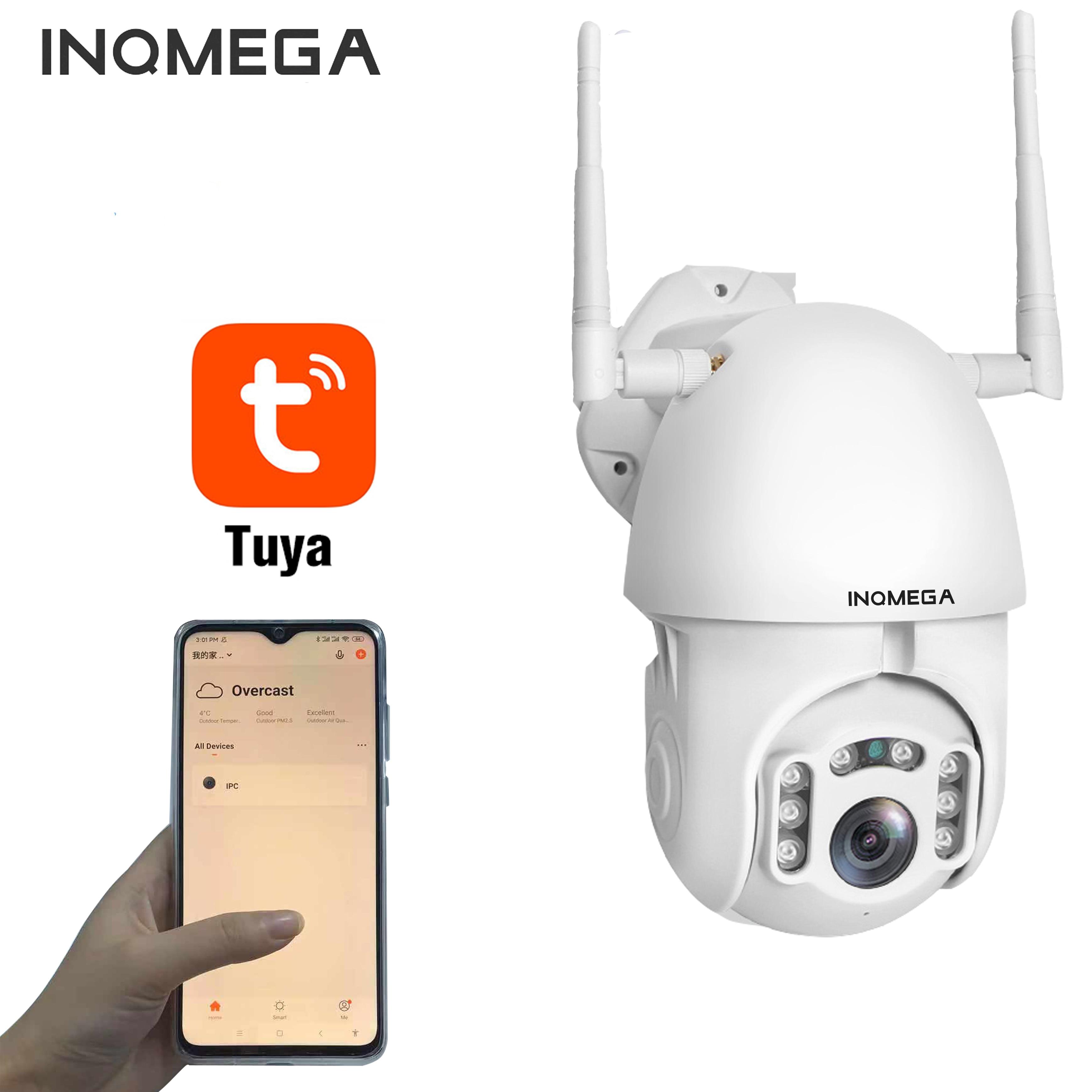 Inqmega ao ar livre 1080 p tuya câmera de vigilância de segurança cctv câmera à prova dwifi água wi fi sem fio rastreamento automático ptz velocidade dome câmera