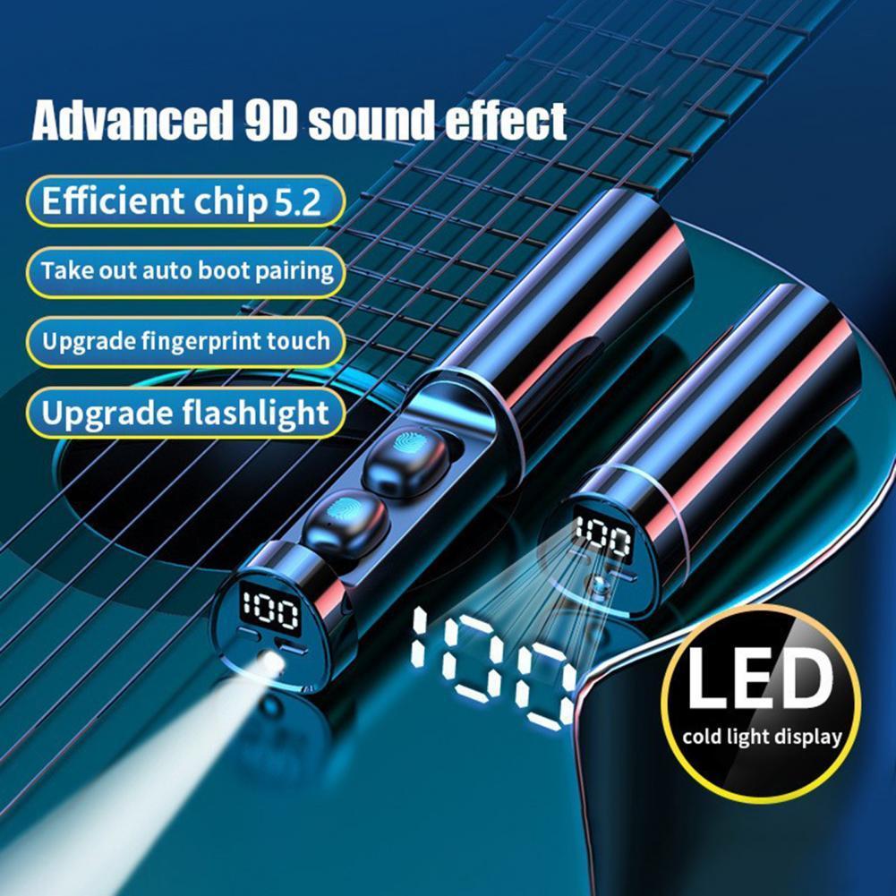 AliExpress - N21 Waterproof Bluetooth 5.2 Headset LED Power Display Touch Screen Wireless Earphones HiFi In-Ear Earbuds With Flashlight