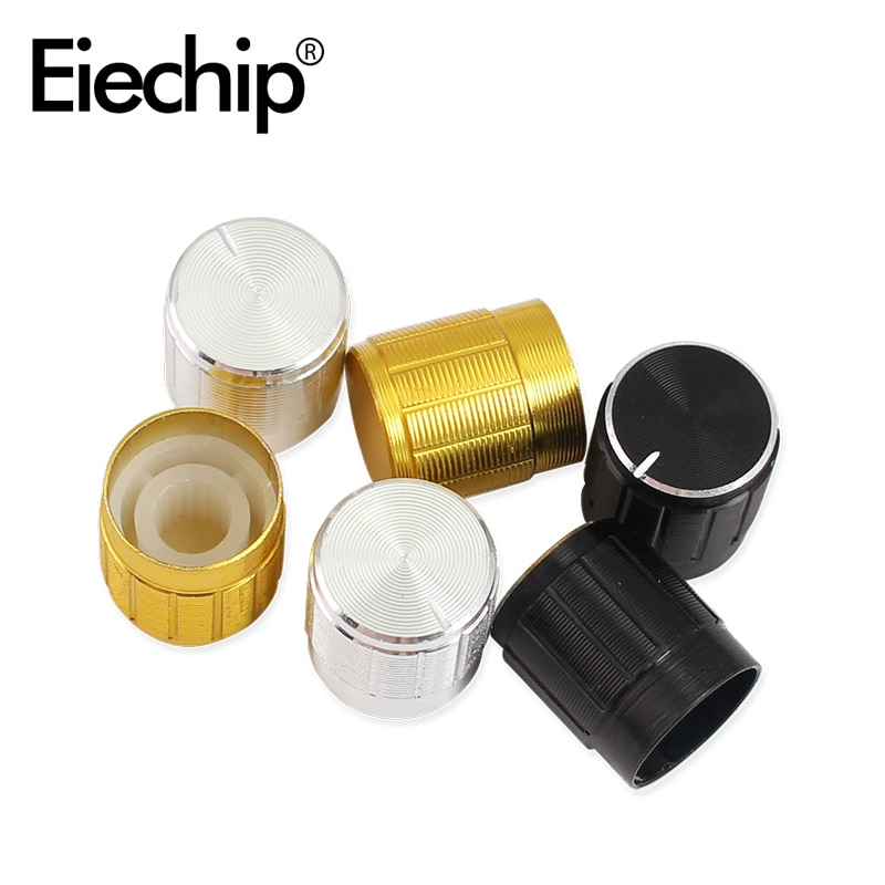 WH148 potentiometer  knob 15x17mm Encoder audio button switch cap, Aluminum Metal Knobs Kit Gold Silver Black Knurled Shaft 6mm potentiometer encoder knob high quality aluminum alloy knobs 15x16 5mm half shaft 6mm d type switch cap for 360 degrees module