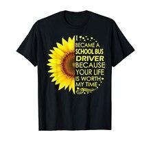 I Became School Bus Driver Sunflower T-Shirt