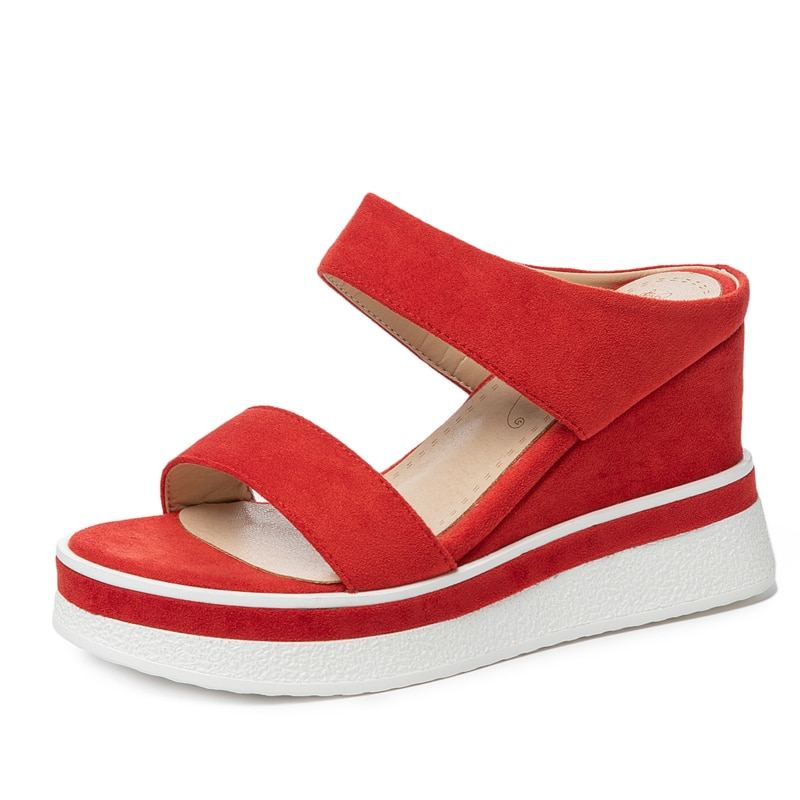 New Summer Women Outside Slippers Sexy Flock Wedges Heel Ladies Platform Shoes Fashion Red Black Apricot Open Toe Slides M070