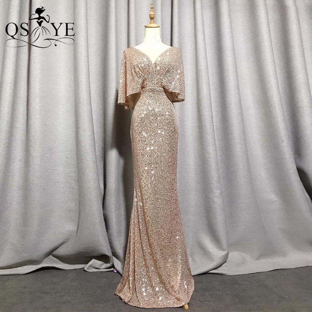 QSYYE Golden Evening Dresses Mermaid Short Sleeves Sexy V Neck Evening Gown Elegant Glitter Bat Sleeves Formal Party Dress