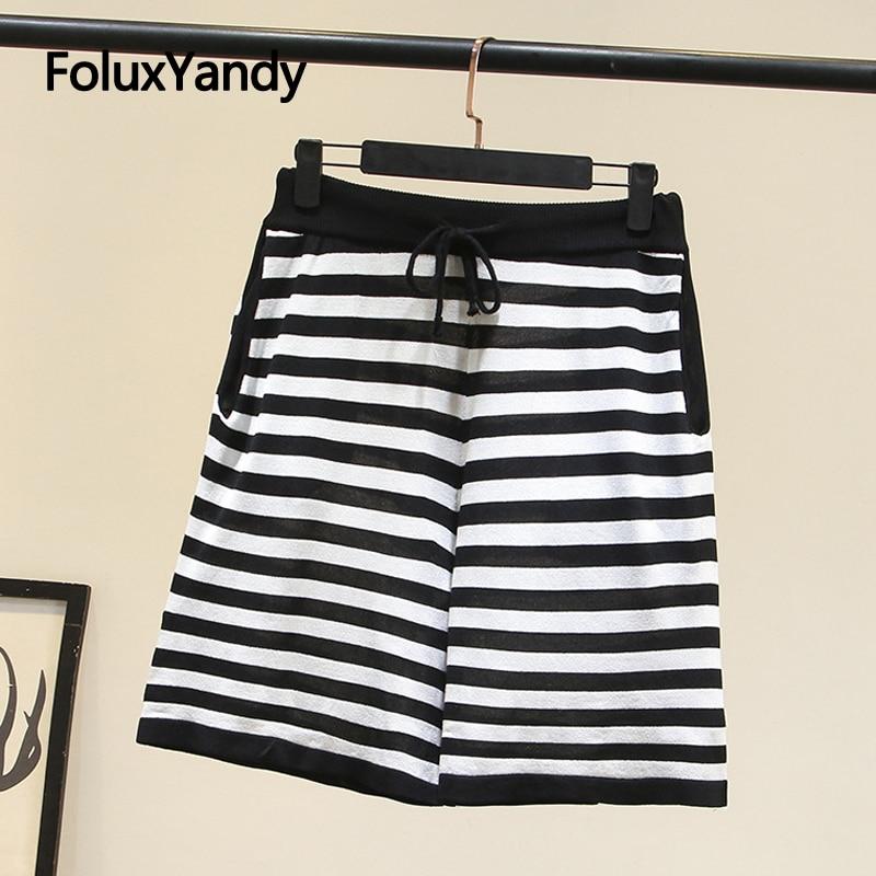 Striped Summer Shorts Women Plus Size XXXL 4XL Casual Loose Knitted Shorts KKFY4430