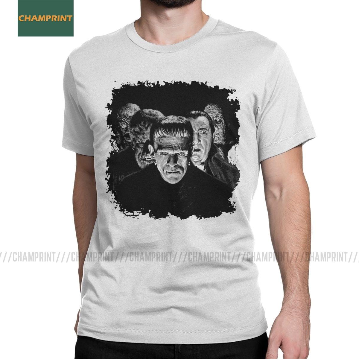 Clásicos monstruos Pop Frankenstein camisetas para hombres monstruo Karloff Drácula Horror algodón camisetas de manga corta Camiseta clásica Tops