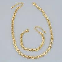 funmode 2pcs luxury hip hop rock gold color link chain jewelry sets for women party gifts necklace bracelets sets wholesale fs35