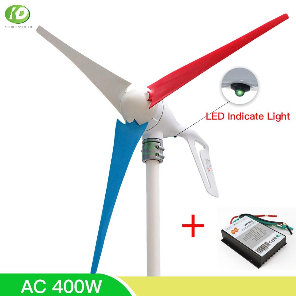 400 واط 12 فولت 24 فولت الرياح مولد تربيني عدة مع 3 5 6 شفرات PWM تحكم المنزل محور أفقي طاحونة LED تشير ضوء هوب