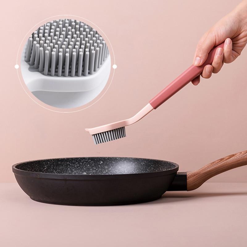 Cepillo de limpieza de mango largo, tazón de lavado, taza, plato, cepillo, fuerte descontaminación, cocina, herramientas de limpieza, accesorios