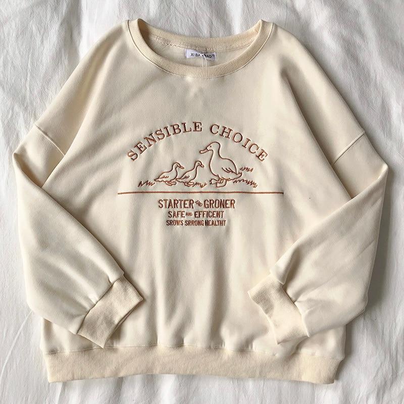 Женский свитшот с вышивкой гусинок Mooirue, Свободный свитшот большого размера в стиле Харадзюку, Осенние Пуловеры большого размера