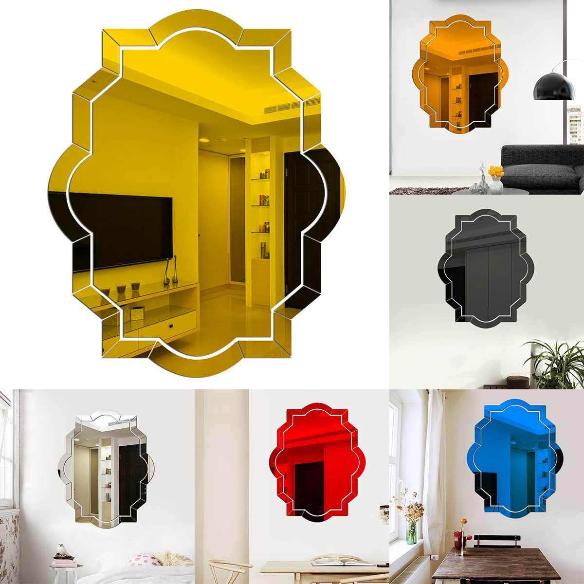 3d acrílico espelho adesivos de parede auto adesivo removível polígono folha espelho decorativo para casa sala estar quarto arte decoração