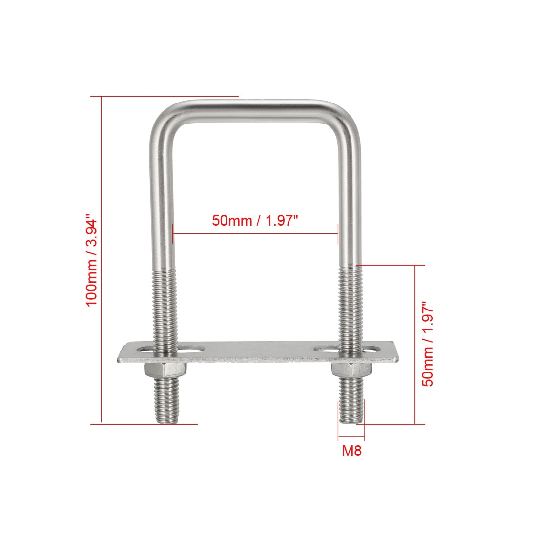 uxcell U-Bolts Inner Width 304 Stainless Steel with Nuts Frame Straps Parts M8 50mm 1Pcs