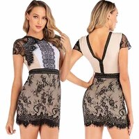new vintage lace womens party sexy hollow out black mini short sleeve dress harajuku casual female mesh lace dress vestido