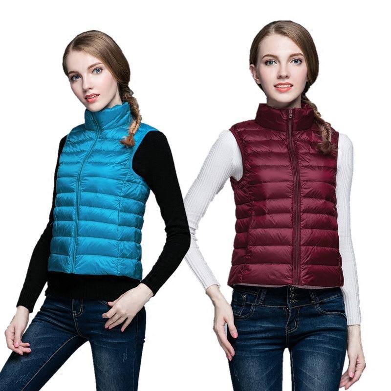 Spring Aumtum Teenagers 90% White Duck Down Vest Waistcoat Soft Warm Thin Ultra Light Waistcoat Jacket Girl Portable Vest Coat