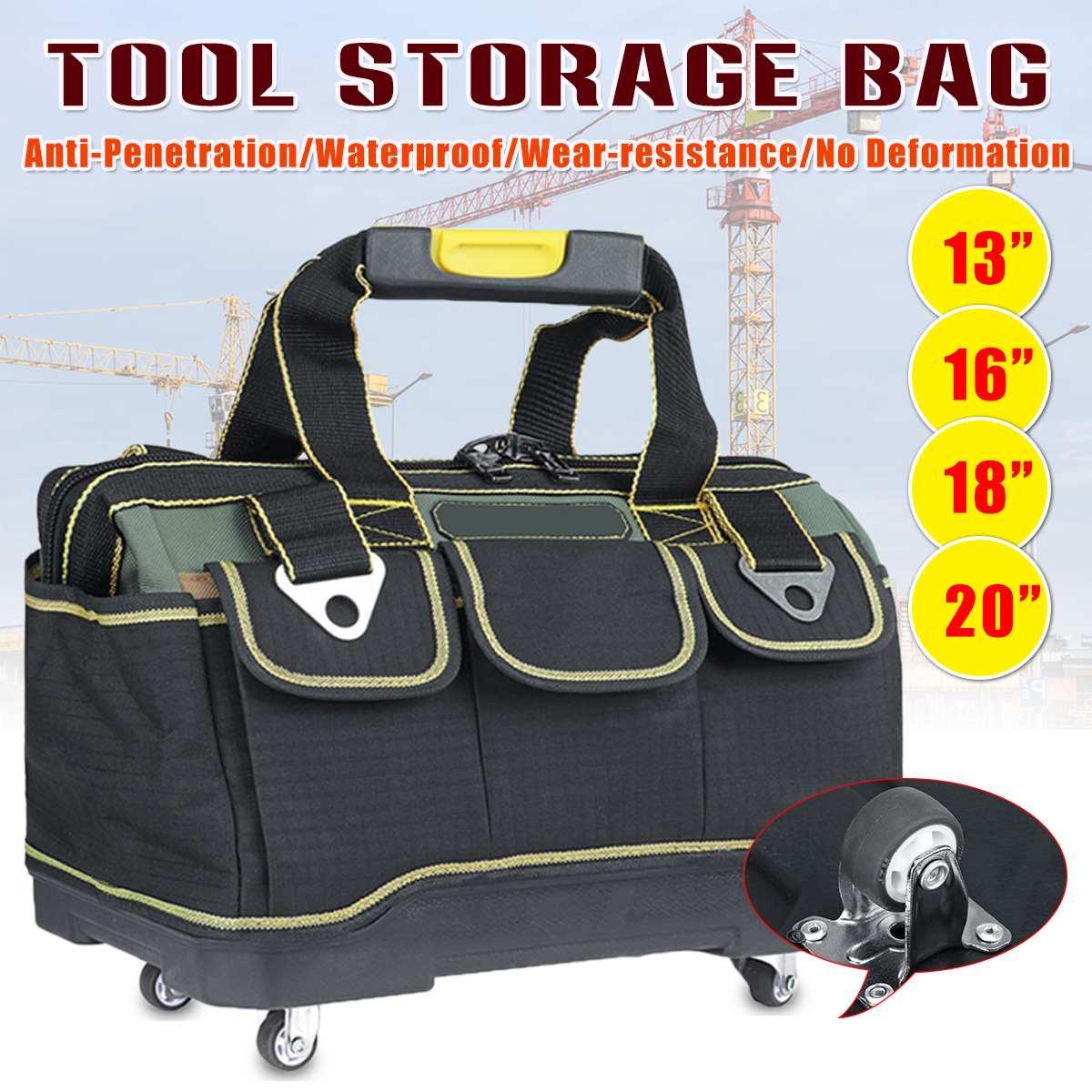 13/16/18 pulgadas Bolsa de boca ancha electricista bolsa con ruedas 1680D de la tela de Oxford herramientas organizador bolsa engrosada fondo