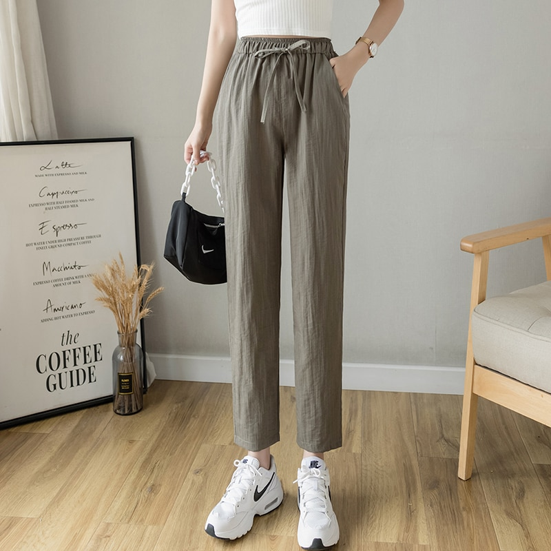 2021 Cotton Linen Pants for Women Trousers Loose Casual Solid Color Women Harem Pants Plus Size Capri Women's Summer