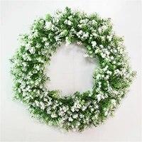 Couronne de bienvenue  decoration de porte verte  pendentif en bois  decoration de maison  guirlande de plantes artificielles
