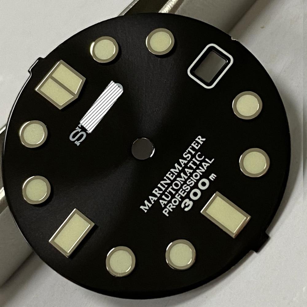 Relógio de Mergulho Dial para Nh35 Relógios Mecânicos Peças Preto – Verde Dial Marcas Luminosas Movimento Automático 28.5mm
