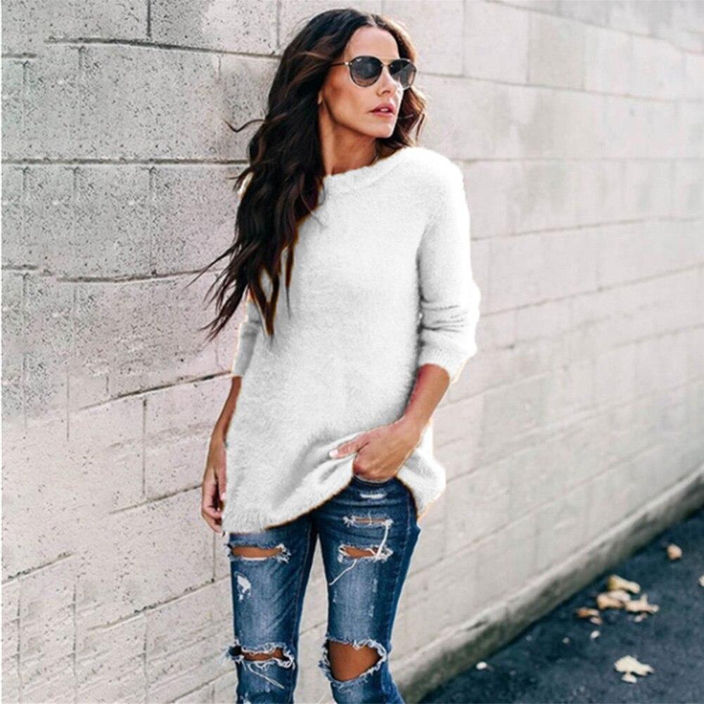 Jersey de punto para mujer de moda informal de manga larga y cuello redondo Otoño/Invierno