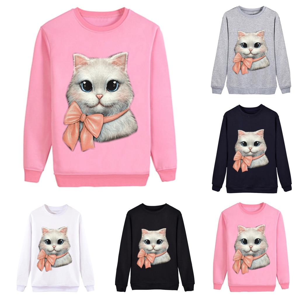 Женская Повседневная Толстовка пуловер Топы с длинными рукавами и принтом кота Feminino Frida Kalo женские толстовки с капюшоном F1