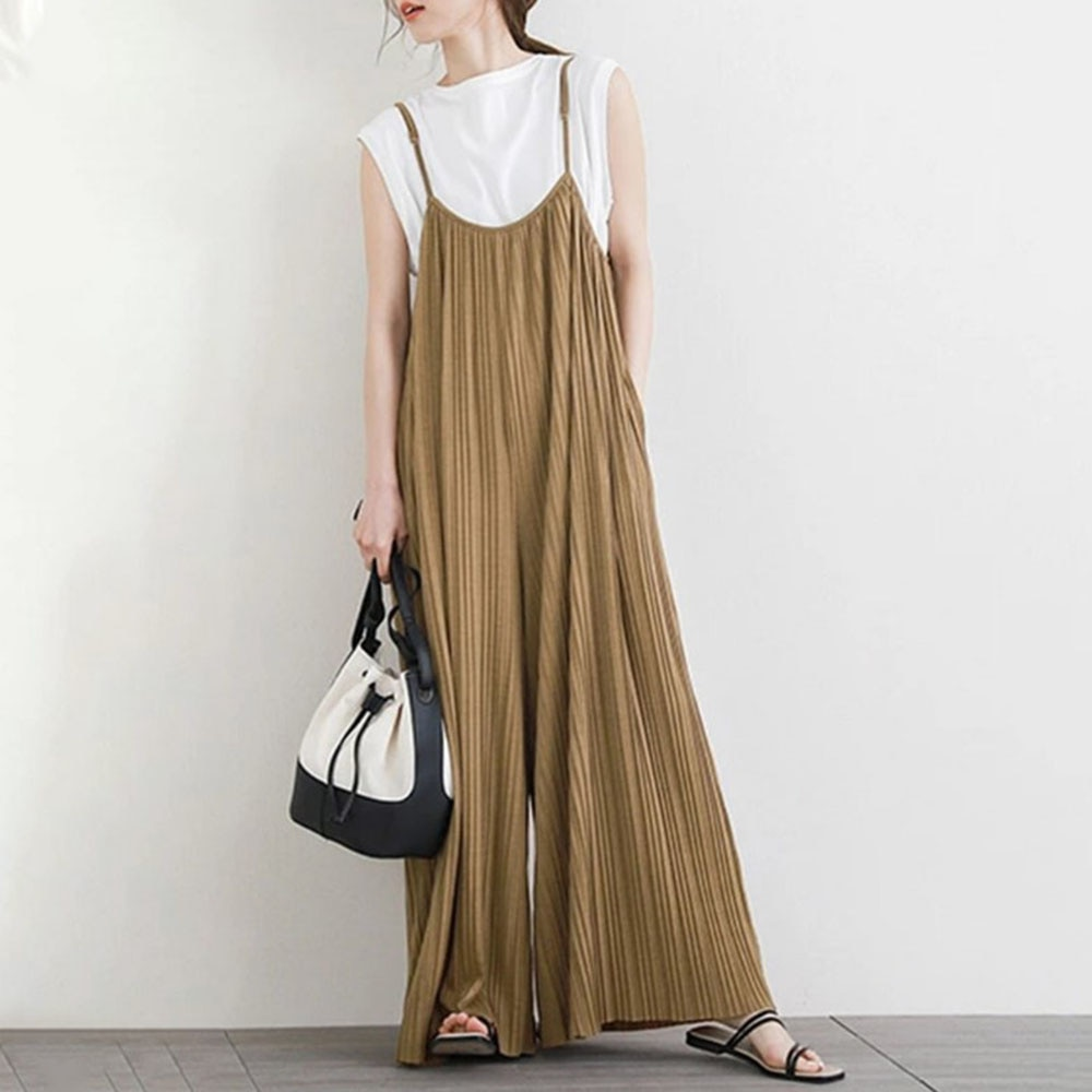 Summer 2021 Women's New Jumpsuit Japanese Style Korean Fashion Temperament Solid Color Loose Casual