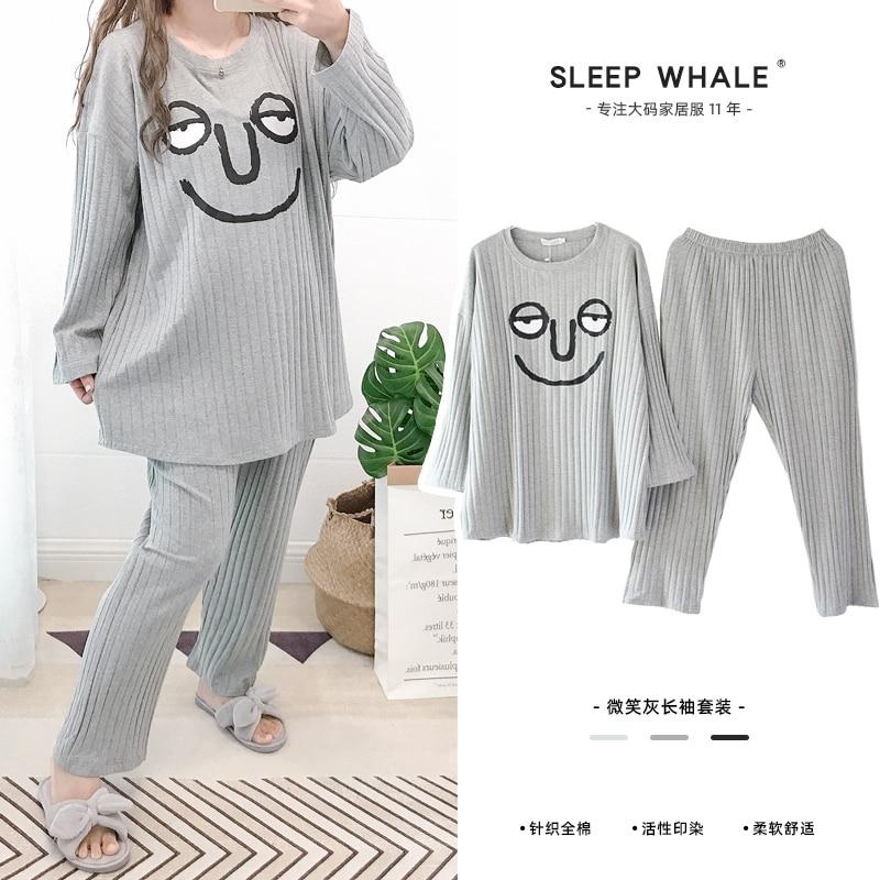 Pijamas de algodão puro expressão engraçada, japonesa e coreana, roupa de casa para meninas gorduras, tamanho extra grande, primavera e outono