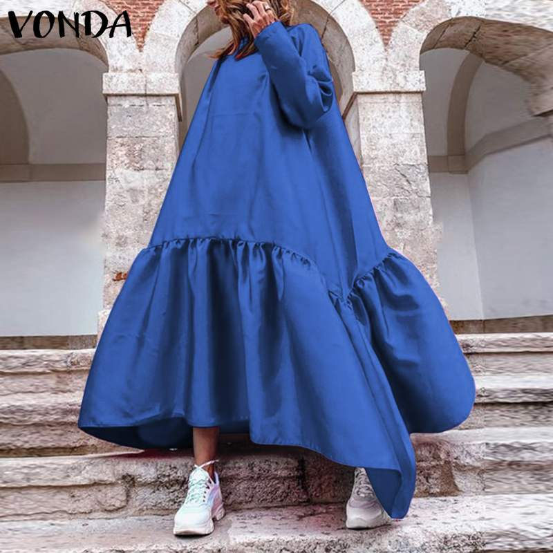 bohemian women maxi long dress 2019 vonda summer o neck long sleeve pattern print dresses casual loose party vestidos plus size VONDA 2021 Autumn Dress Women Casual O Neck Long Sleeve Dresses Plus Size Bohemian Vestidos Loose Solid Color Sundress 5XL Robe