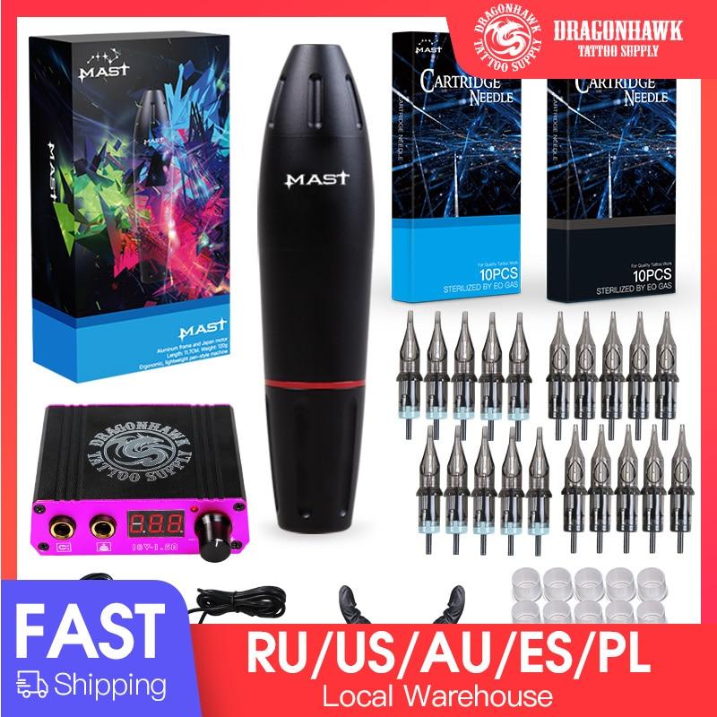 Professional Tattoo Kits Rotary Tattoo Pen Machine Guns Permanent Makeup Machine Color Inks Power Supply Cartridge Needles D3029