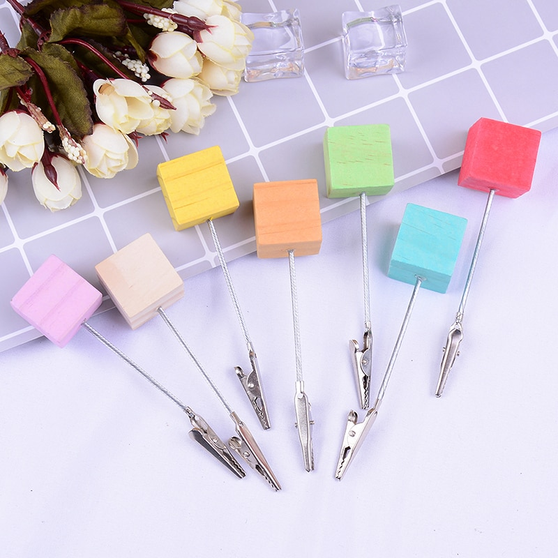 color cube stand alligator wire desk card note picture memo photo clip holder table wedding party place favor personalized gift 1pc Colorful Paper Photo Card Clips Memo Picture Note Card Desk Paper Photo Clip Holder Table Stand Place Office Supplies