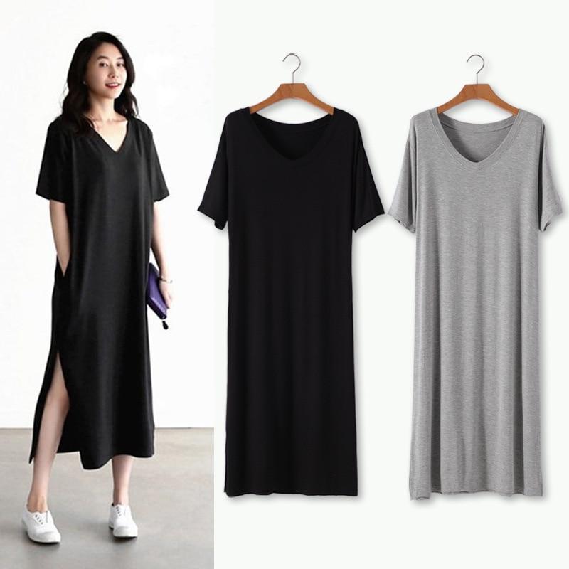 2021 Summer new modal long skirt short sleeve loose split V-neck pocket fat mm large slim dress