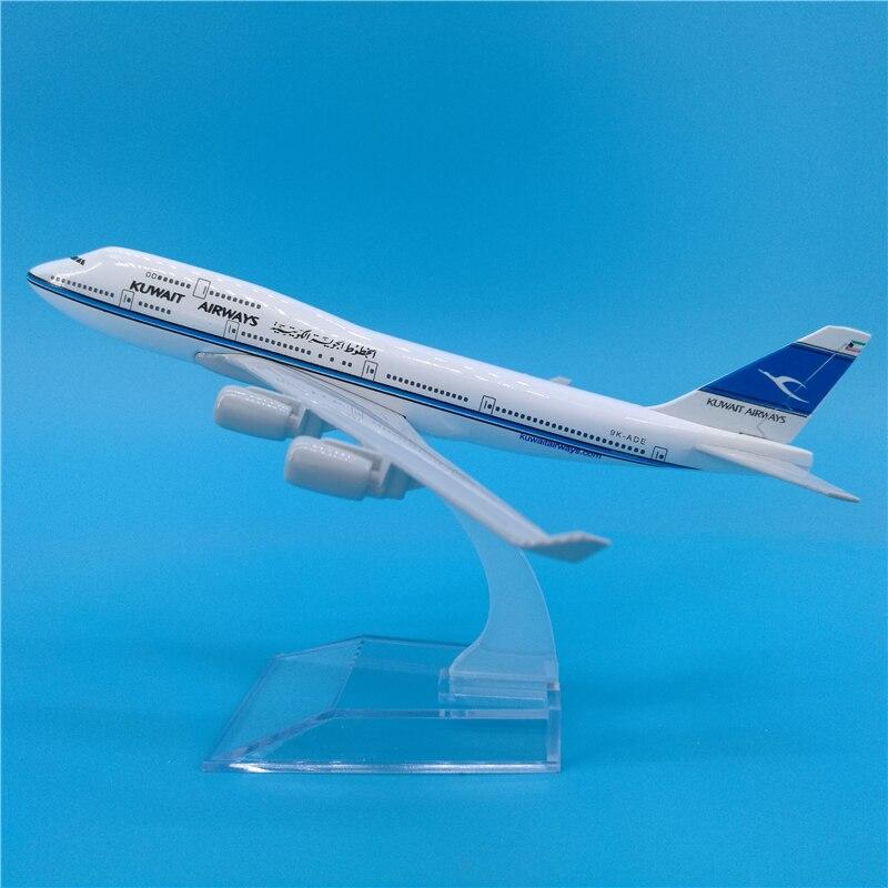 16CM 1400 Boeing 747 B747 modelo de aviones Kuwait Airways w Avión de aleación base coleccionable muestra de colección de modelos de Juguetes