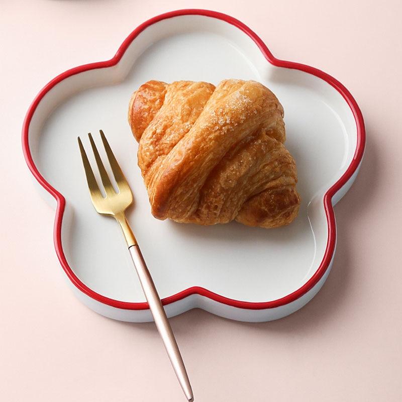 Toast Ceramic Plates Bread Snack Tray Plate Breakfast Dish Flower Pattern Plate Plateau For Kicthenтарелки Для Еды
