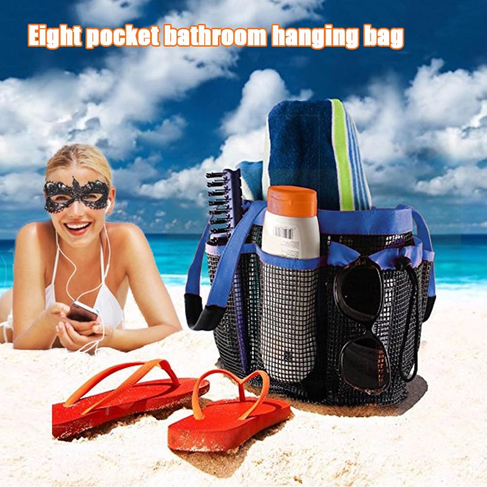 Nueva bolsa de ducha de secado rápido con 8 bolsillos de almacenamiento de malla, organizador de aseo, asas durables para viajes al gimnasio, natación FIF66