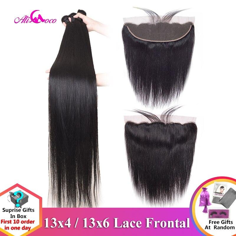 עלי קוקו 28 30 Inch ישר שיער טבעי חבילות עם פרונטאלית ברזילאי רמי שיער מראש קטף 13x4 13x6 תחרה פרונטאלית עם חבילות