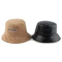 reversible faux fur bucket hat warm winter hats for women leather fishing cap bob panama outdoor letter embroidery fisherman hat