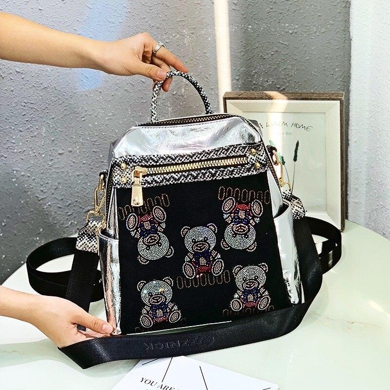 Fashion Women Backpack Cartoon Bear Print Rhinestone Backpacks for Teenage Girls School Shoulder Bag Female Bagpack Mochila