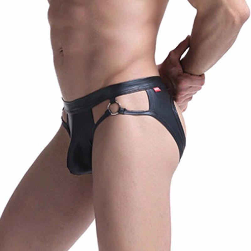 Men Briefs Male Underwear PU Leather Underpants Breathable Lingerie Bulge